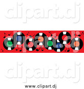 Vector Clipart of Vinyl Record Albums and Music Notes on Red by Pams Clipart