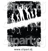 Vector Clipart of White Silhouetted Dancers over Black and White Floral Grunge by KJ Pargeter