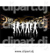 Vector Clipart of White Silhouetted Dancers over Music Notes and Waves on Black by KJ Pargeter