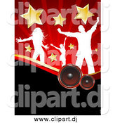 Vector Clipart of White Silhouetted Dancers with Stars, over Speakers and Red Rays by KJ Pargeter
