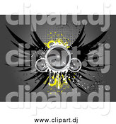 Vector Clipart of Winged Speakers with Yellow Circles, over a Gray Grungy Background with Dots by KJ Pargeter