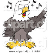 Vector of a Cartoon Bald Eagle Singing in Choir by Toons4Biz