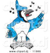 Vector of a Cartoon Blue Jay School Singing by Toons4Biz