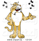 Vector of a Cartoon Bobcat Singing by Toons4Biz