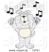 Vector of a Cartoon Bulldog Singing in Music Class by Toons4Biz