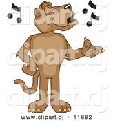 Vector of a Cartoon Cougar Singing by Toons4Biz