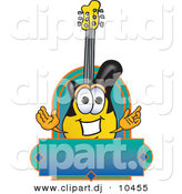 Vector of a Cartoon Guitar Above Blank Blue Green Banner by Toons4Biz