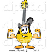 Vector of a Cartoon Guitar Flexing His Arm Muscles by Toons4Biz