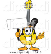 Vector of a Cartoon Guitar Holding a Blank Sign by Toons4Biz