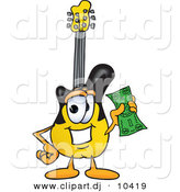 Vector of a Cartoon Guitar Holding a Dollar Bill by Toons4Biz