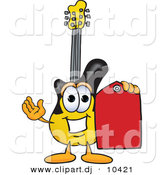 Vector of a Cartoon Guitar Holding a Red Sales Price Tag by Toons4Biz