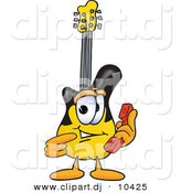 Vector of a Cartoon Guitar Holding a Telephone by Toons4Biz