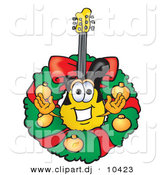 Vector of a Cartoon Guitar in the Center of a Christmas Wreath by Toons4Biz