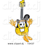 Vector of a Cartoon Guitar Jumping by Toons4Biz