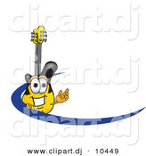 Vector of a Cartoon Guitar Logo with a Blue Dash by Toons4Biz