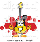 Vector of a Cartoon Guitar Logo with a Red Paint Splatter by Toons4Biz