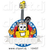 Vector of a Cartoon Guitar Logo with Stars and a Blank Label by Toons4Biz