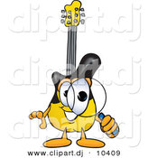 Vector of a Cartoon Guitar Looking Through a Magnifying Glass by Toons4Biz