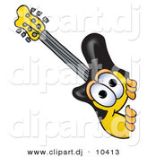 Vector of a Cartoon Guitar Peeking Around a Corner by Toons4Biz