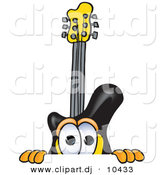 Vector of a Cartoon Guitar Peeking over a Surface by Toons4Biz