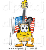 Vector of a Cartoon Guitar Pledging Allegiance to an American Flag by Toons4Biz