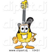 Vector of a Cartoon Guitar Pointing at the Viewer by Toons4Biz