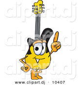 Vector of a Cartoon Guitar Pointing Upwards by Toons4Biz
