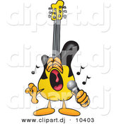 Vector of a Cartoon Guitar Singing Loud into a Microphone by Toons4Biz