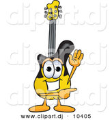 Vector of a Cartoon Guitar Waving and Pointing by Toons4Biz