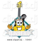 Vector of a Cartoon Guitar with a Blank Label Banner by Toons4Biz