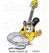 Vector of a Cartoon Guitar with a Computer Mouse by Toons4Biz