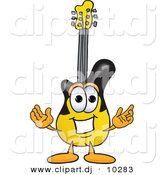 Vector of a Cartoon Guitar with Welcoming Open Arms by Toons4Biz