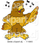 Vector of a Cartoon Hawk Singing in Chorus by Toons4Biz