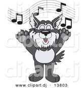 Vector of a Cartoon Husky School Singing by Toons4Biz