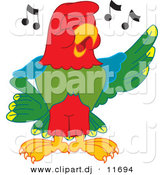 Vector of a Cartoon Macaw Parrot Singing by Toons4Biz