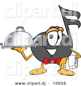 Vector of a Cartoon Music Note Dressed As a Waiter and Holding a Serving Platter by Toons4Biz