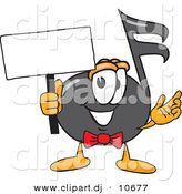 Vector of a Cartoon Music Note Holding a Blank Sign by Toons4Biz