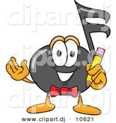 Vector of a Cartoon Music Note Holding a Pencil by Toons4Biz