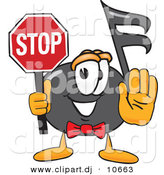 Vector of a Cartoon Music Note Holding a Stop Sign by Toons4Biz