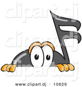 Vector of a Cartoon Music Note Peeking over a Surface by Toons4Biz