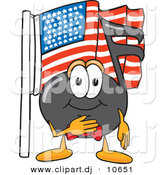 Vector of a Cartoon Music Note Pledging Allegiance to an American Flag by Toons4Biz