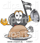 Vector of a Cartoon Music Note Serving a Thanksgiving Turkey on a Platter by Toons4Biz