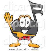 Vector of a Cartoon Music Note Waving and Pointing by Toons4Biz