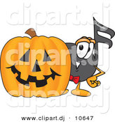 Vector of a Cartoon Music Note with a Carved Halloween Pumpkin by Toons4Biz