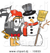 Vector of a Cartoon Music Note with a Snowman on Christmas by Toons4Biz