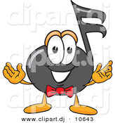 Vector of a Cartoon Music Note with Welcoming Open Arms by Toons4Biz