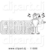 Vector of a Cartoon Panther with Choir Text - Coloring Page Outline by Toons4Biz