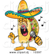 Vector of a Cartoon Taco Singing Loud into a Microphone by Toons4Biz
