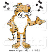 Vector of a Cartoon Tiger School Singing by Toons4Biz