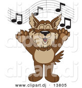 Vector of a Cartoon Wolf School Singing by Toons4Biz